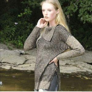 Rena Zipper Lux Toffee/Br. Granite 2 Tone Sweater